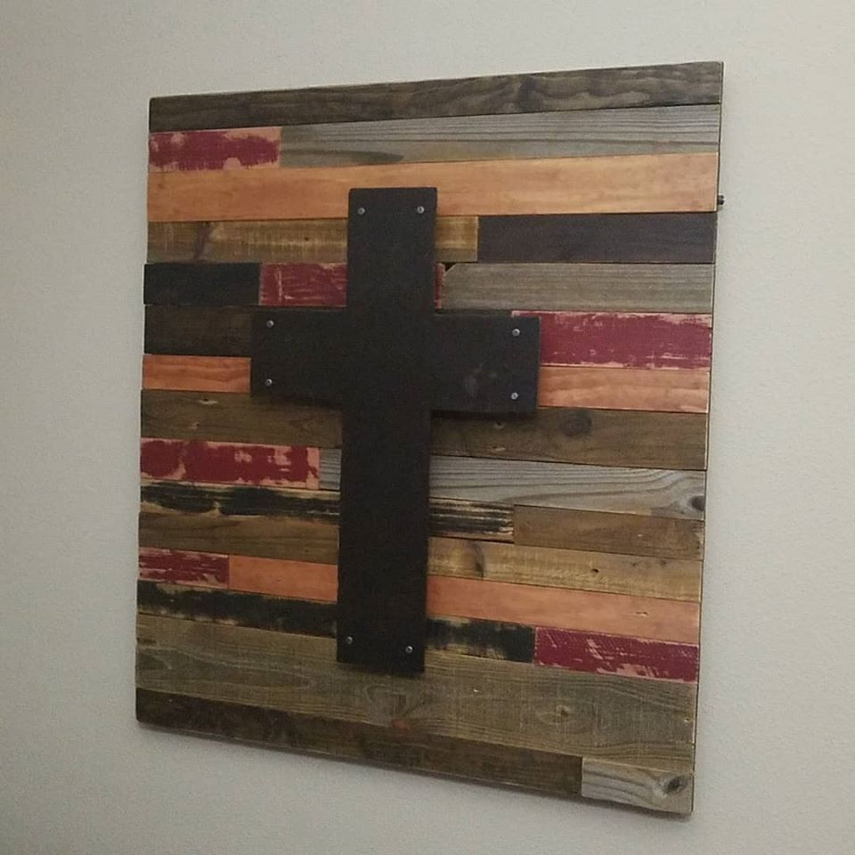 Reclaimed wood steel cross wall art