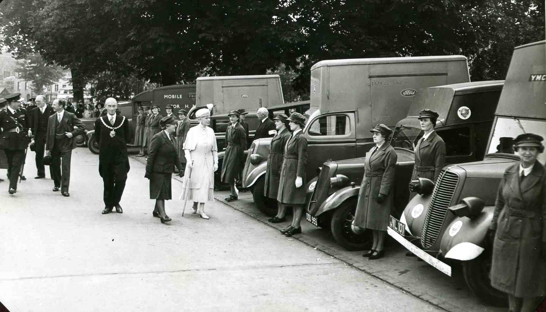 Queen Mary inspecting new YMCA Tea Vans