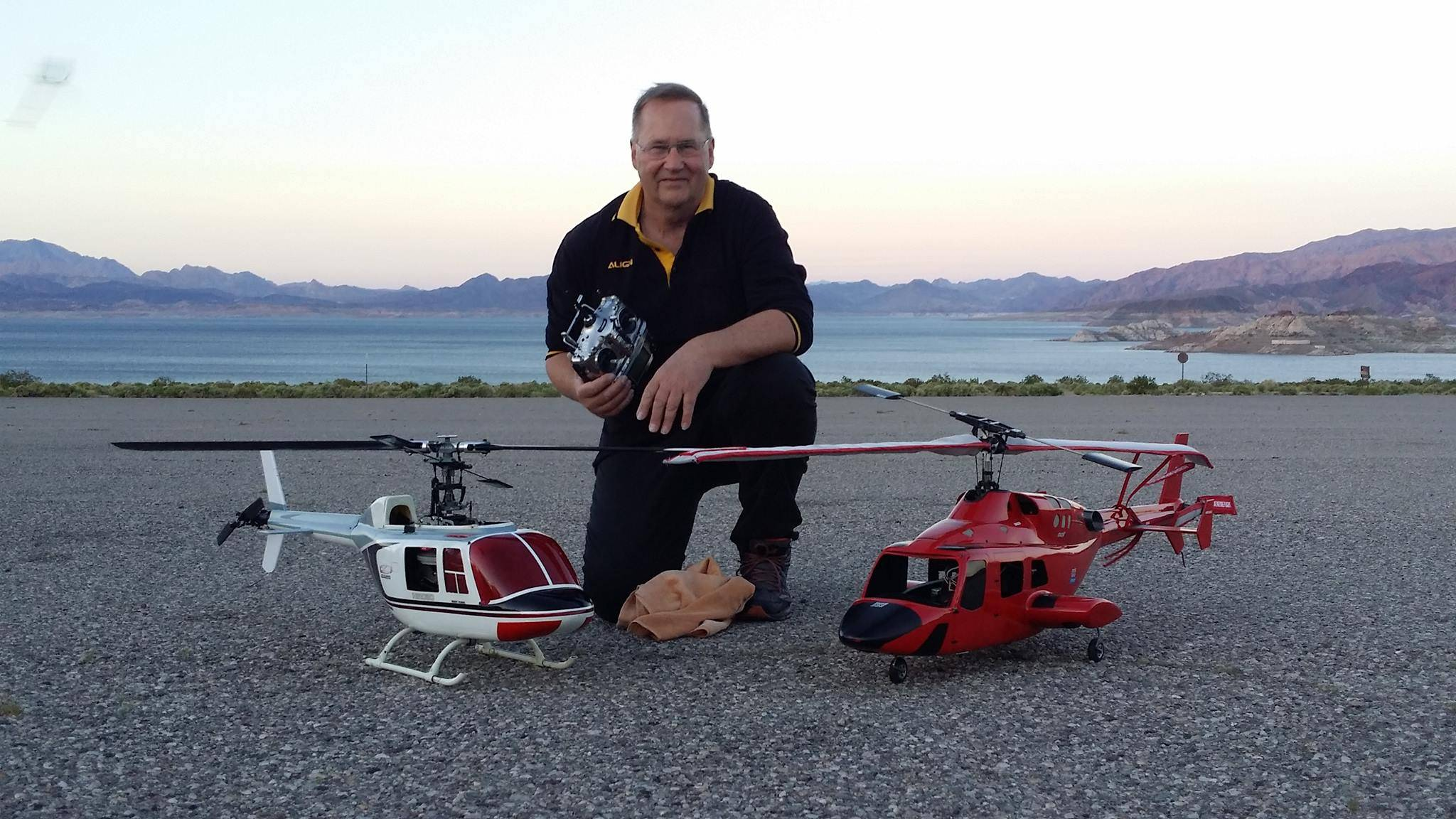 Barry with the GMP heli's previously owned by Robert Gorham