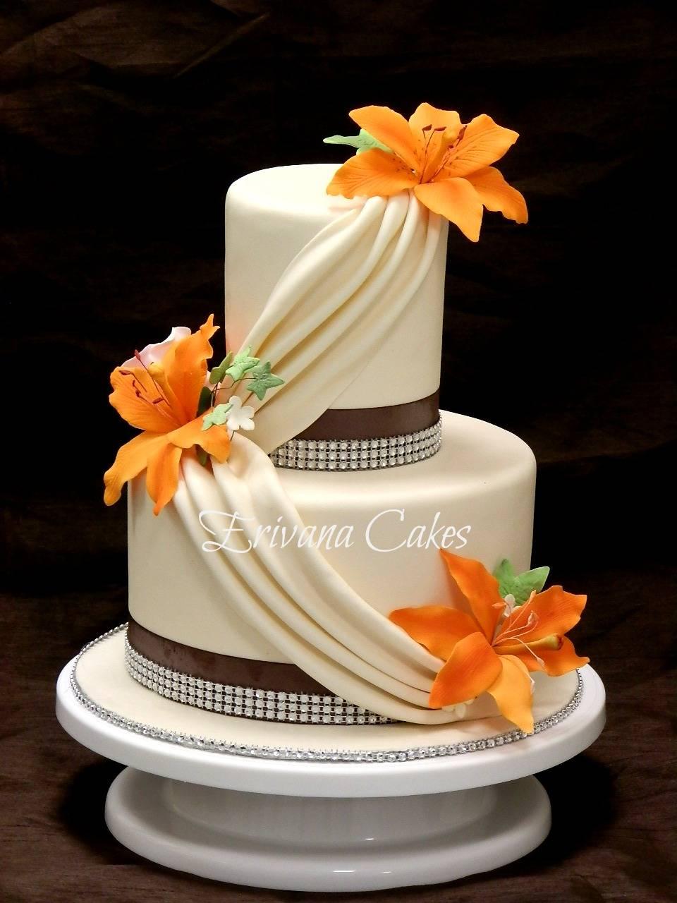 Orange and Ivory wedding cake