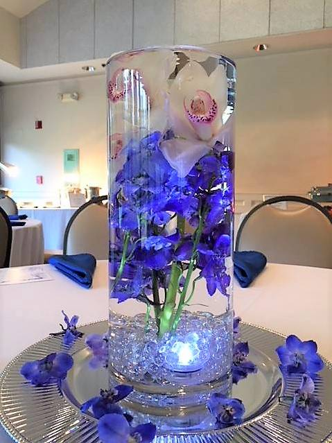 Submerged Cymbidium and Delphinium