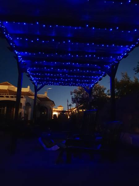 Large Shaded Pergola at night
