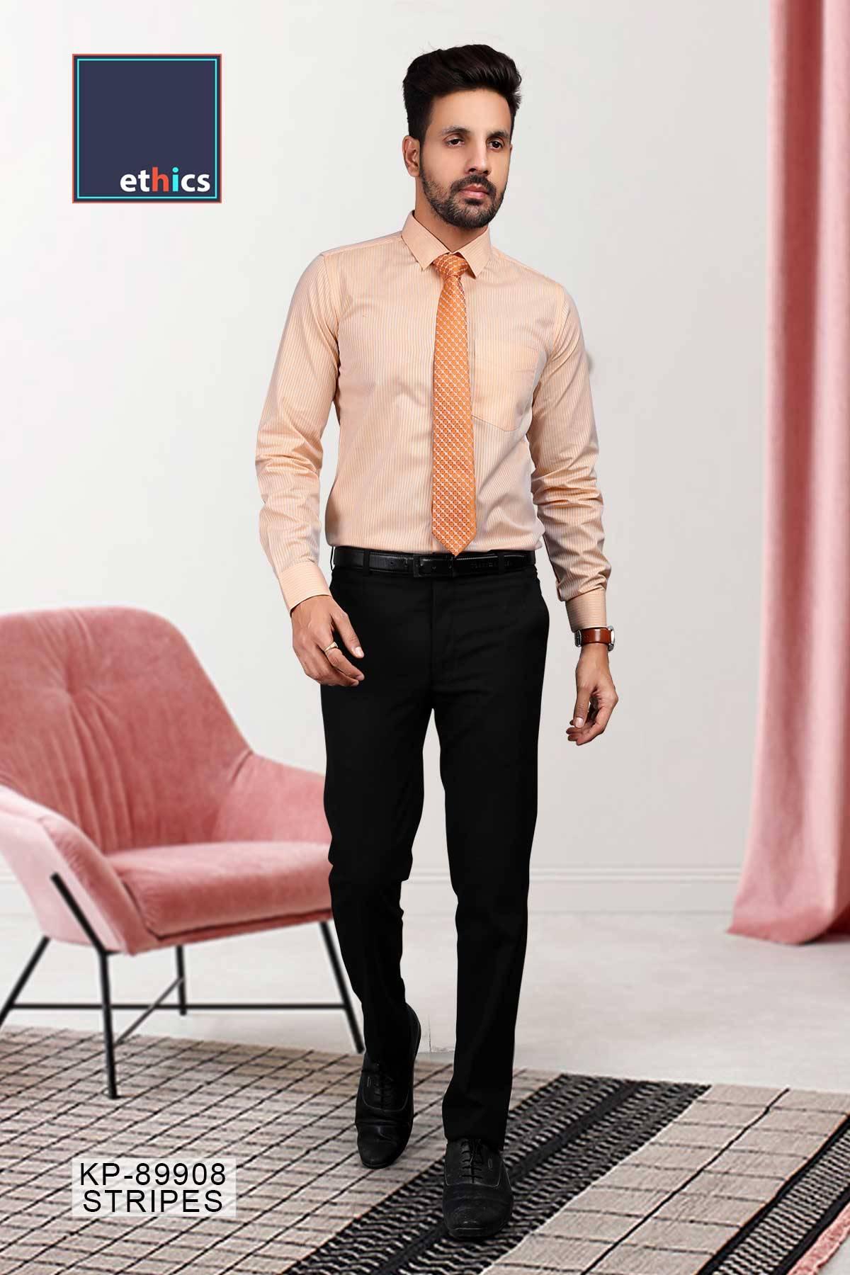 Orange Stripe Office Uniform Men's Readymade Shirt KP-89908