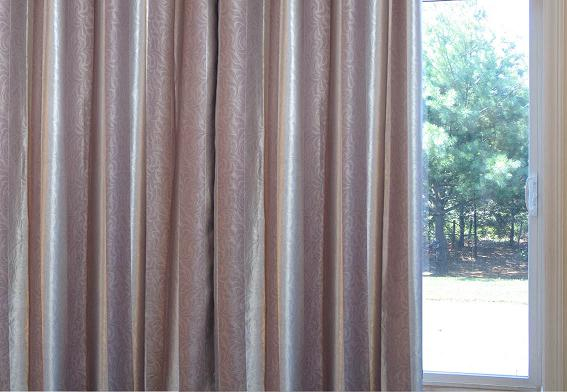 Sateen & Suede/ Oversize Striped  Pinch Pleat   Patio Blackout Curtains  100W X 84L