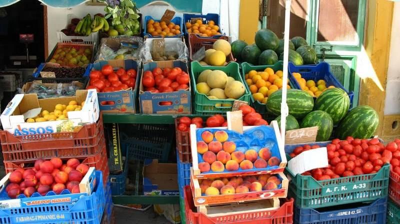 fruit and veg market in Lakki, Leros