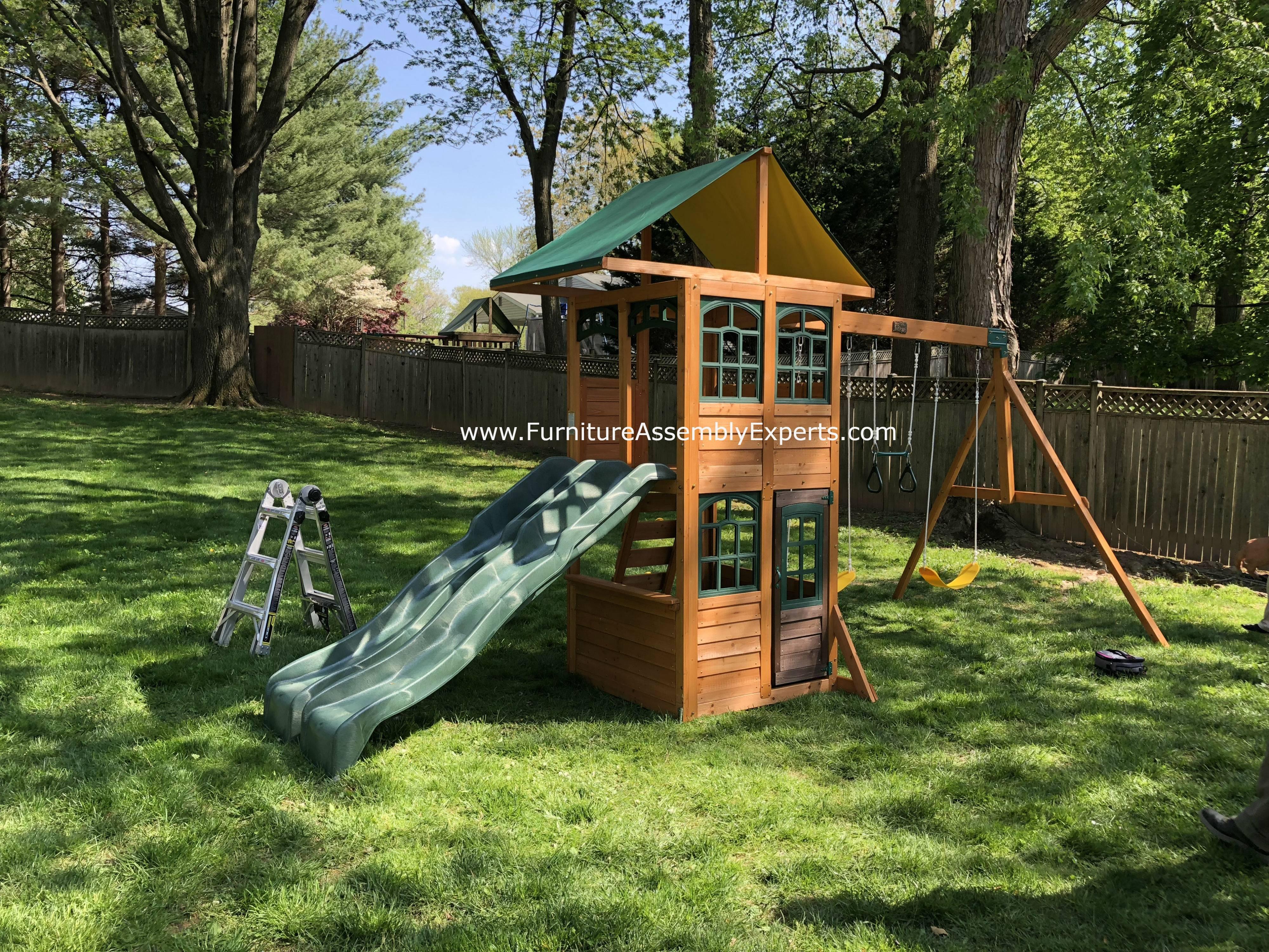 big backyard treasure trove swing set installation in gaithersburg MD