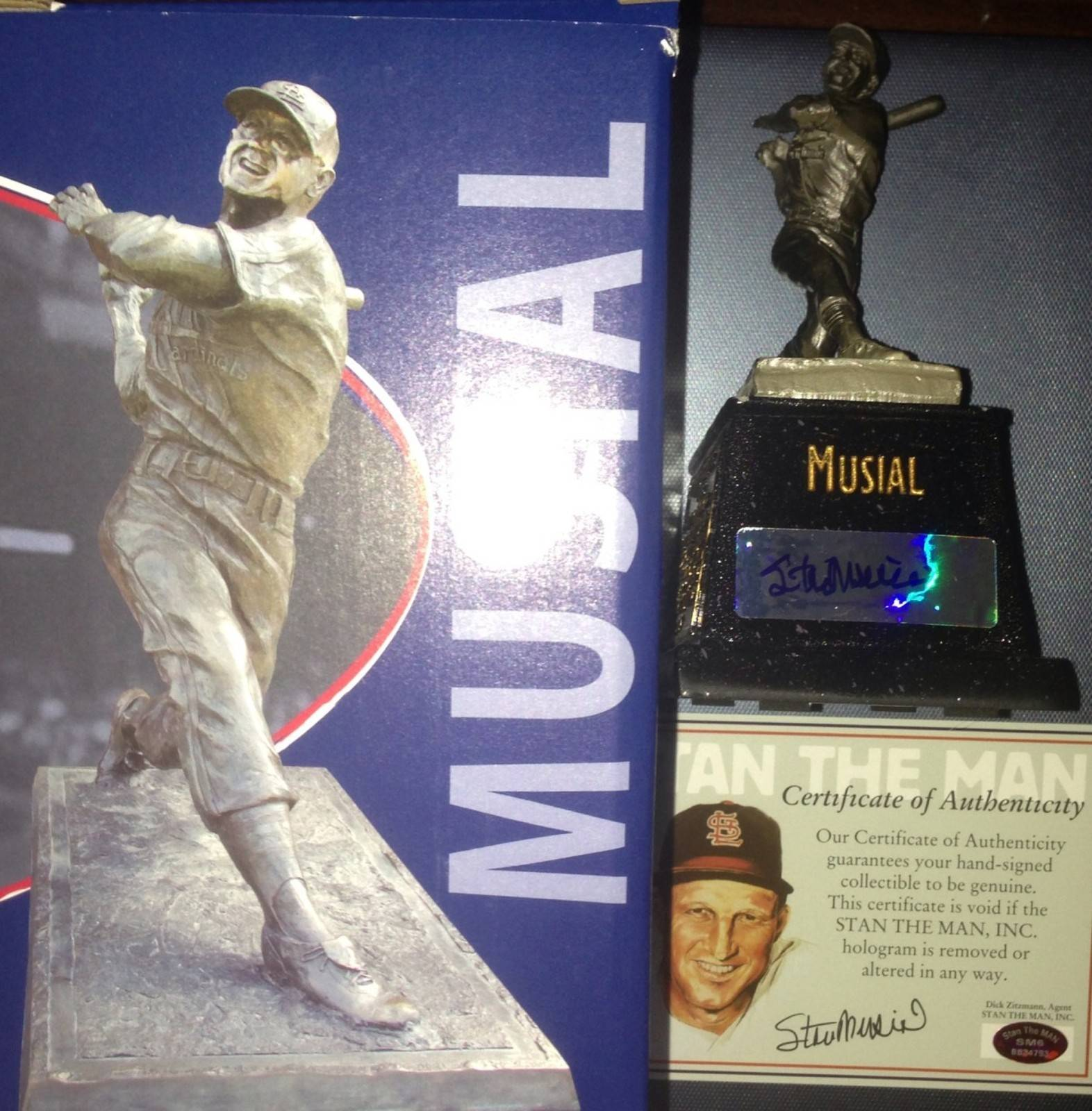 Stan Musial Autographed Cardinals SGA Stadium Giveaway Bronze Statue Auto