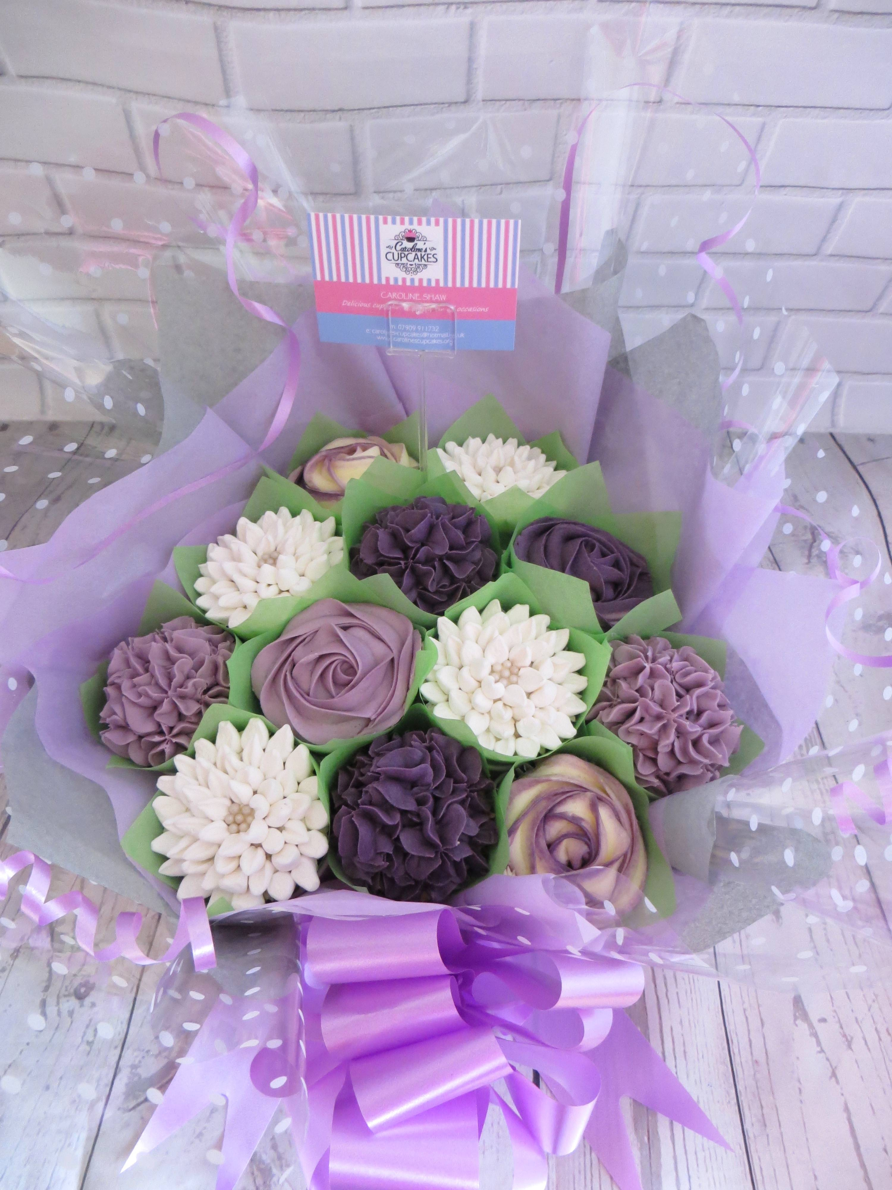 White and purple cupcake bouquet
