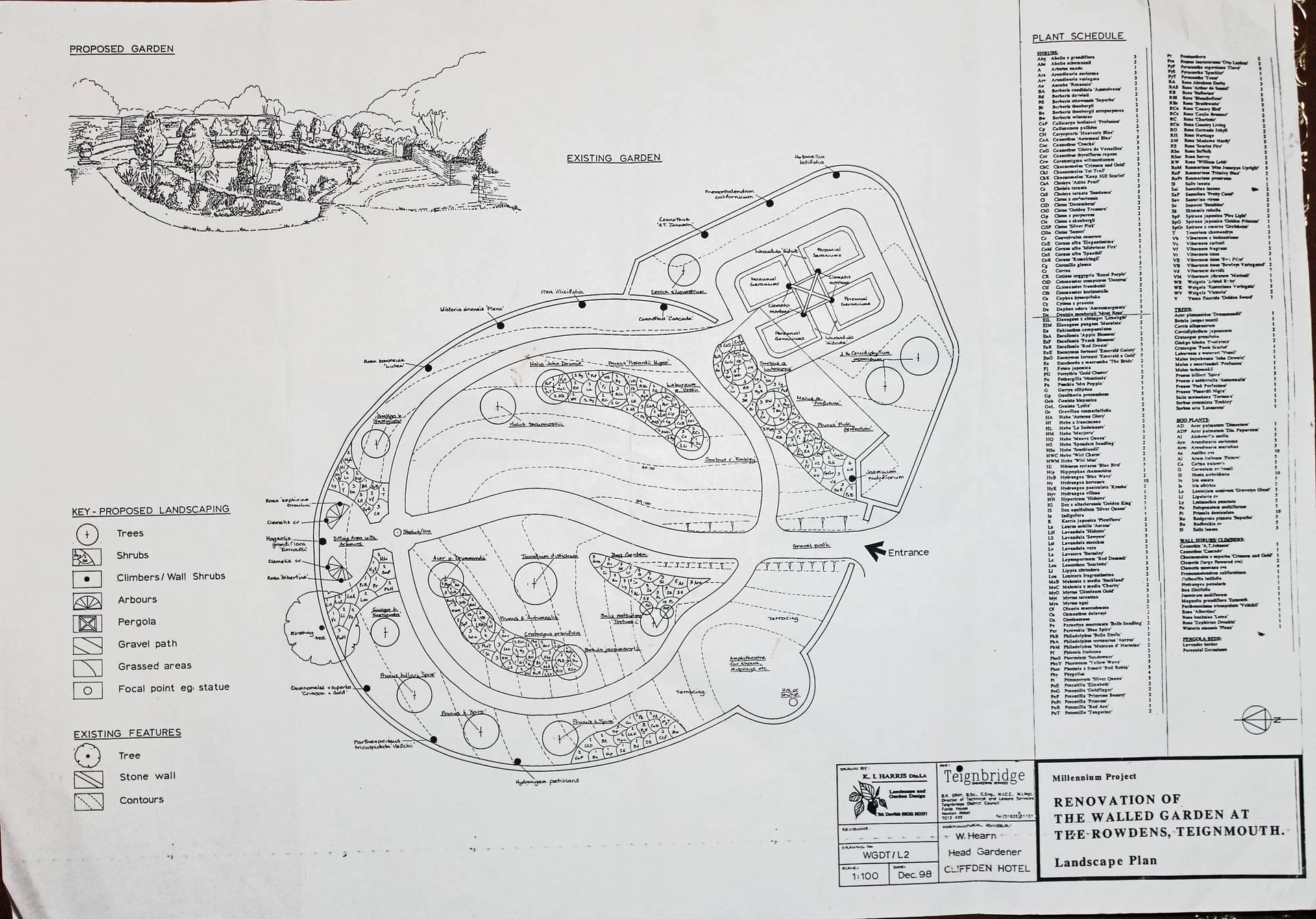 Landscape Plan for Walled Garden, December 1998
