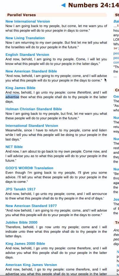 Numbers 24:14 KJV Bible