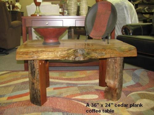 small cedar coffee-table, natural edge, split legs