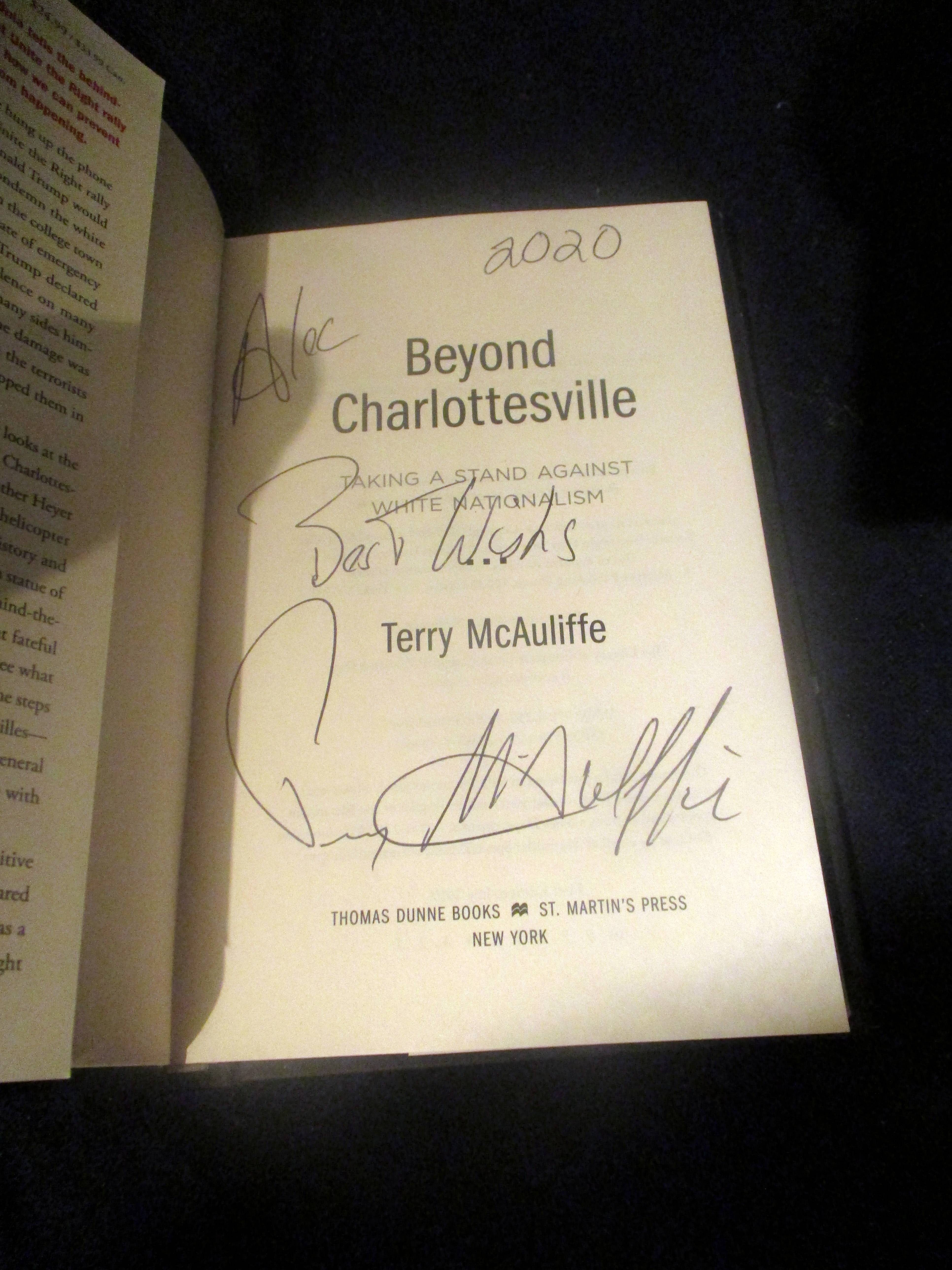 Autographed Title Page of Beyond Charlottesville: Taking a Stand Against White Nationalism at The Wombatorium 2.0: A Capital Idea
