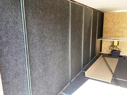 Left wall carpeted, antenna racks installed