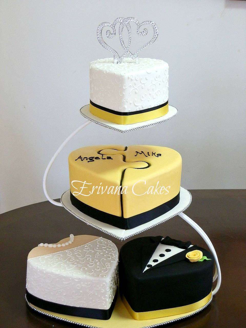 Heart Bride and Groom Puzzle Wedding Cake