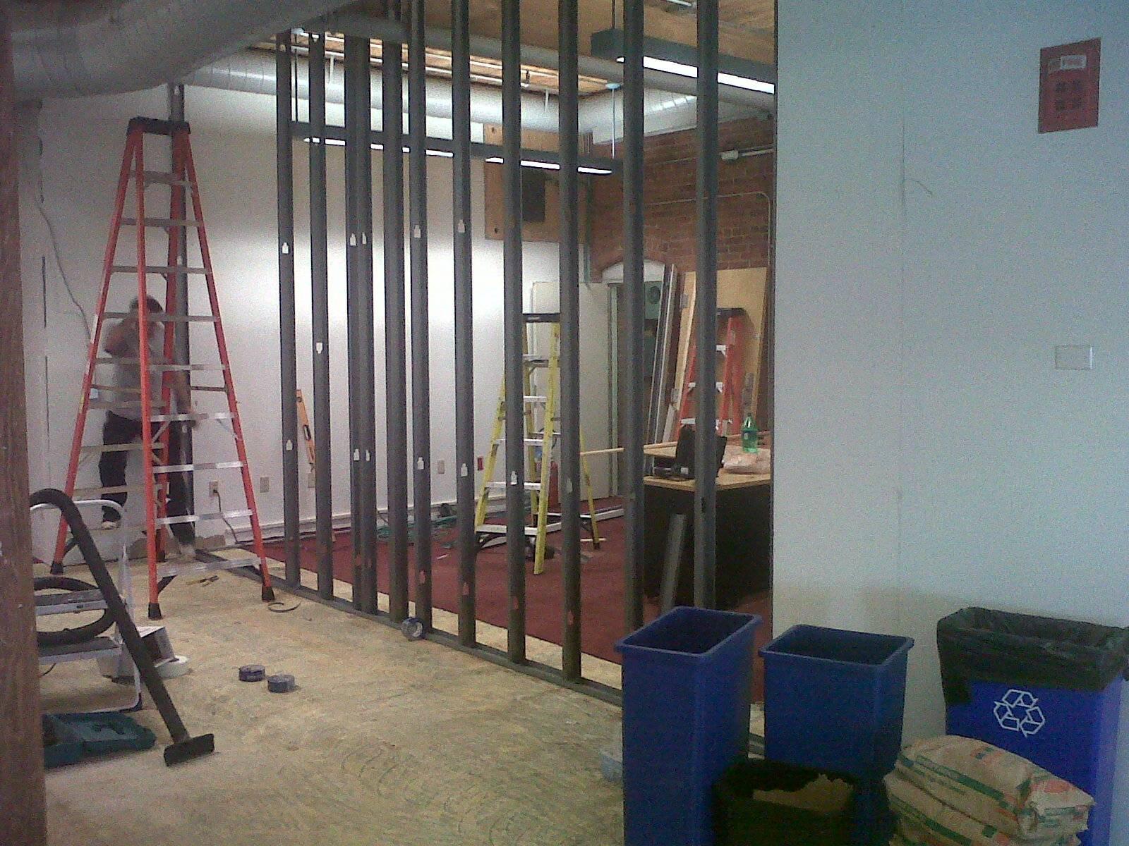 Progress Image 2: Metal Framing Going Up For New Storage Room