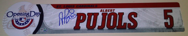Albert Pujols Signed 2011 Opening Day Locker Room Name Plate