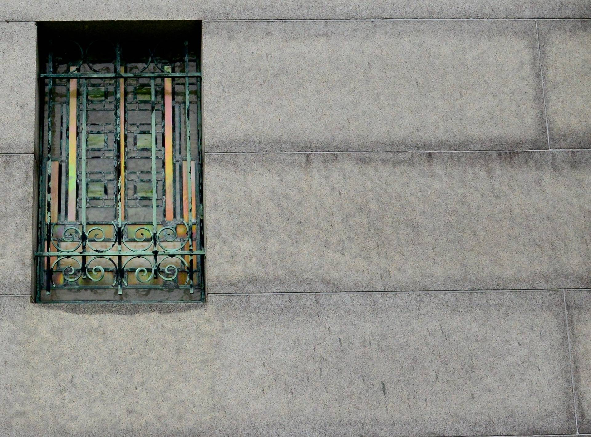 Back of mausoleum showing art glass
