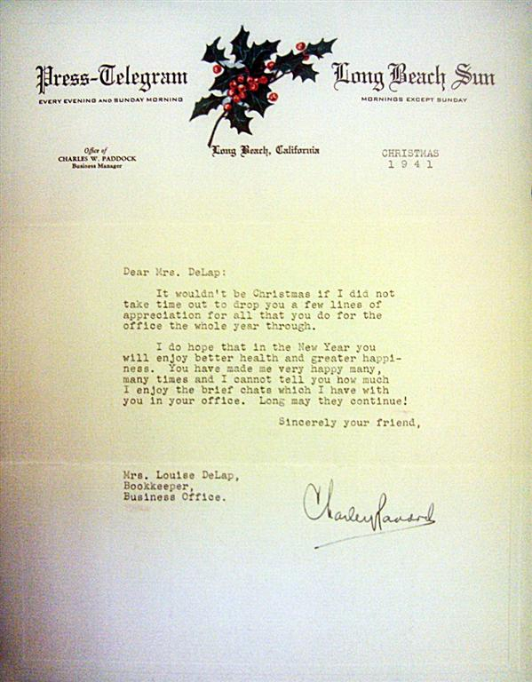 Letter sent by Charley Dec.1941