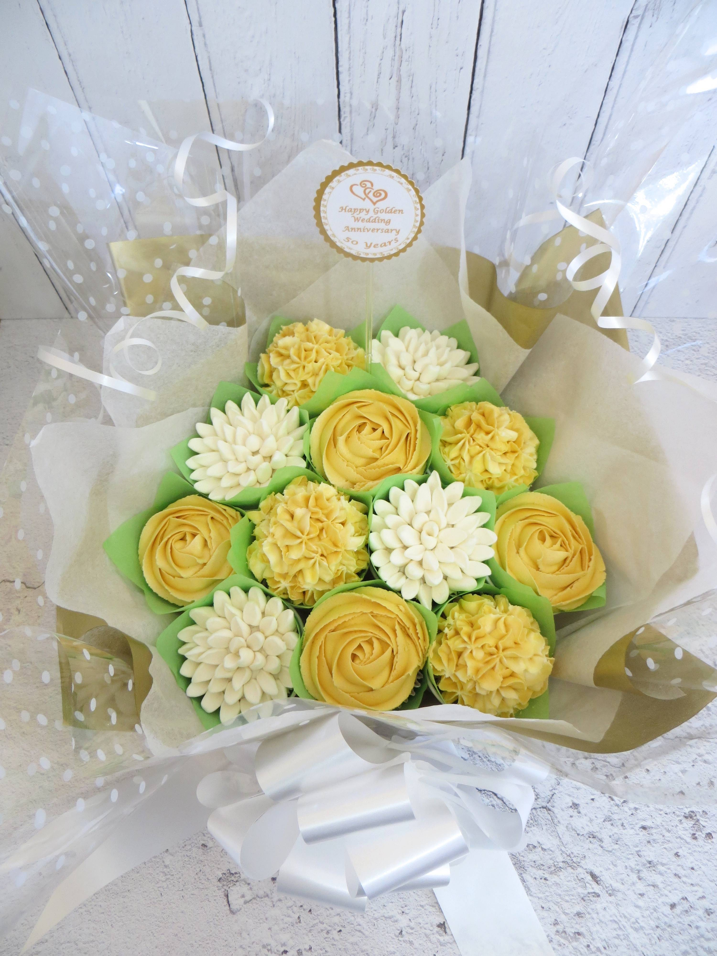Golden Wedding Anniversary Cupcake Bouquet