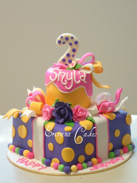 Purple , pink and yellow Cake