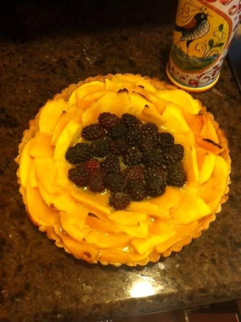 Fruit Tart with Mango & Black Berries