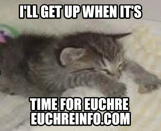 I'll get up when it's time for Euchre.