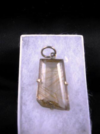 09-00120 Faceted Rutilated Quartz Pendant in Silver