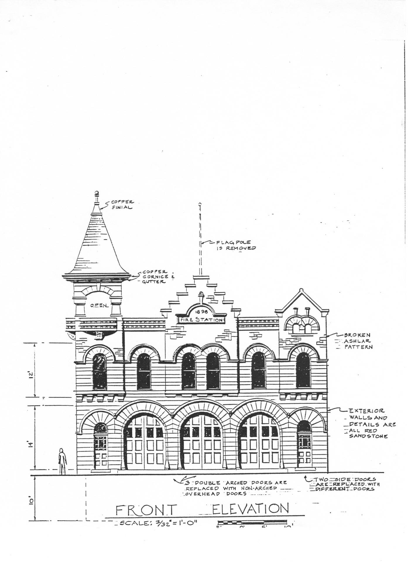 Copy of original blue print for the Fire Station.