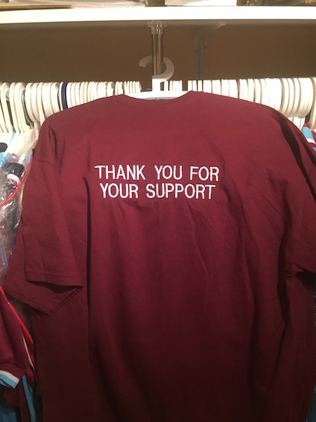 """Andy Carroll worn """"Thank you for your support""""  T shirt"""