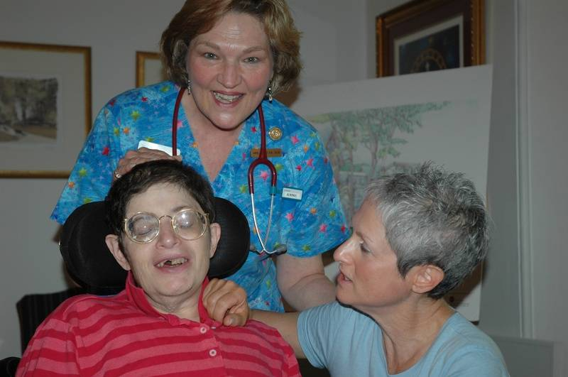 Aimee, Nurse Anne, and Abigail, celebrating Aimee's release from Hospice, July 10, 2006....