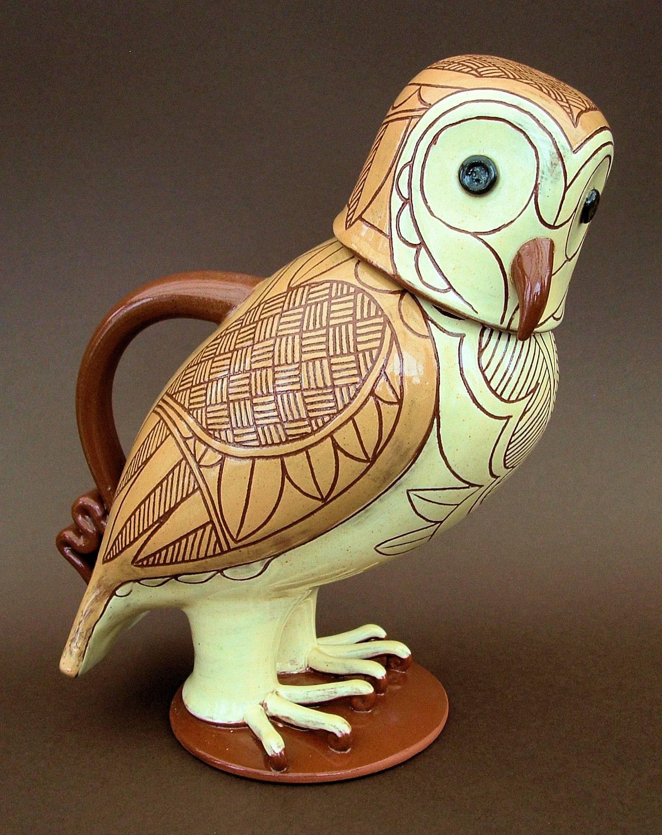 """Lidded Barn Owl Jug 10"""" tall"""