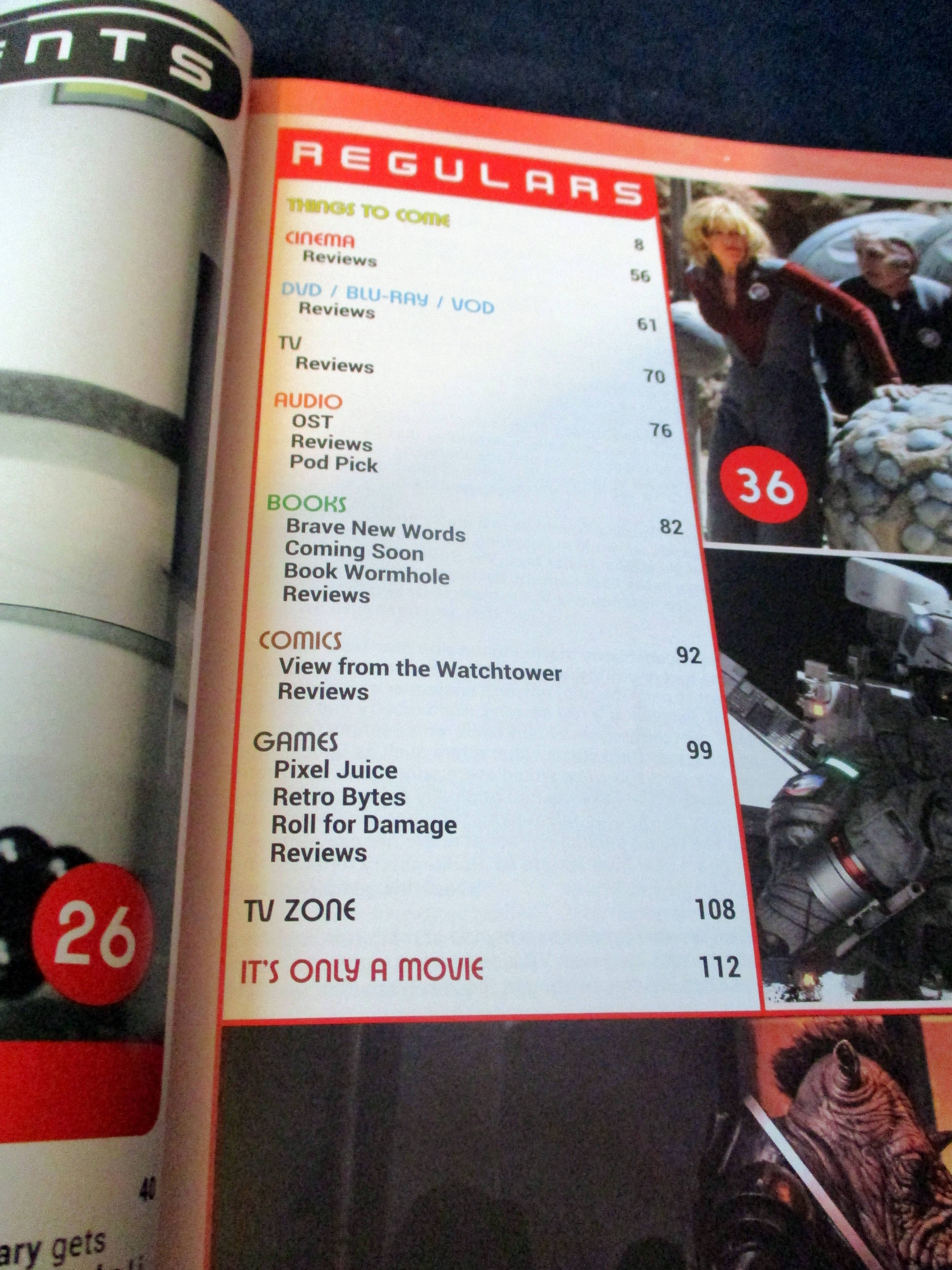 Section of Table of Contents with Regulars in Starburst Magazine #468: 2020 Preview Issue Collectors? Edition