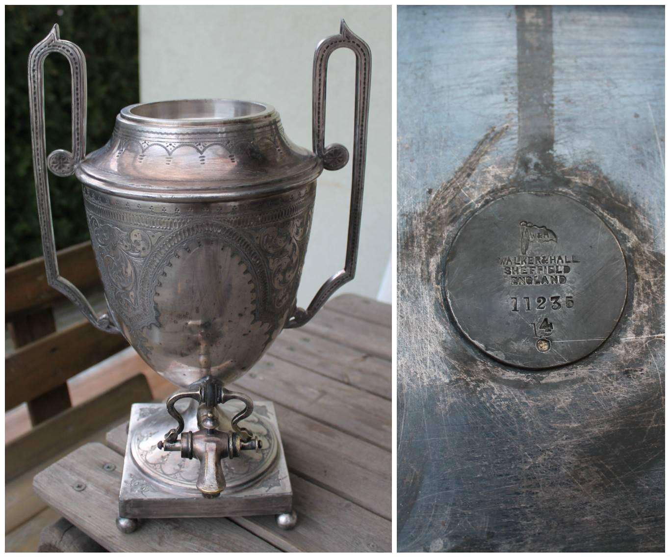 Antique English Edwardian Walker & Hall Silver Plated Samovar. Kaina 93