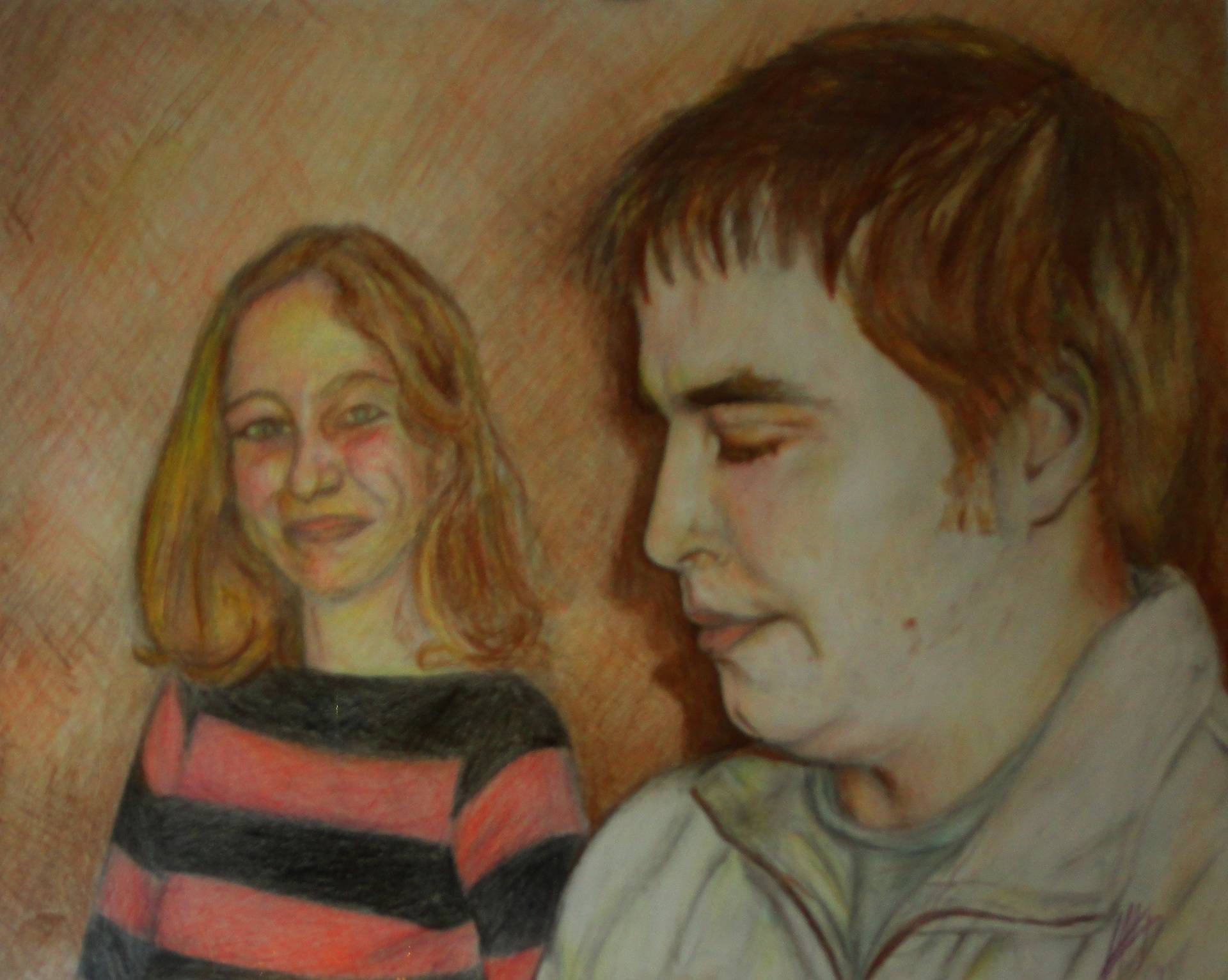 Brother and Cousin coloured pencil drawing
