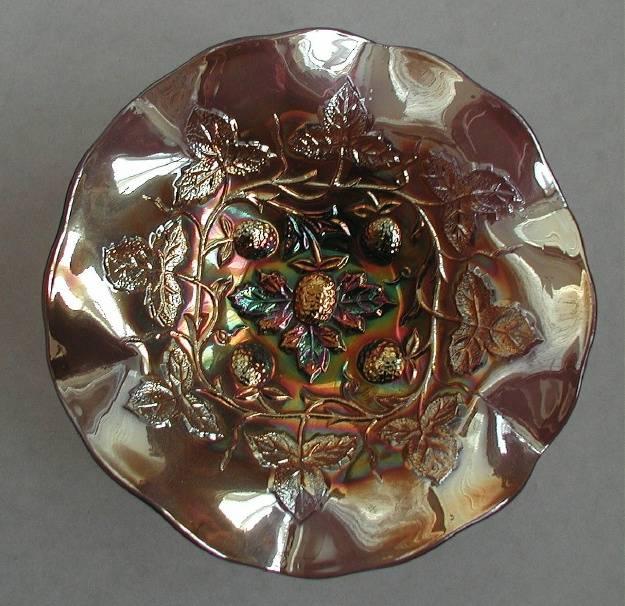 Blackberry Wreath ruffled bowl, amethyst radium
