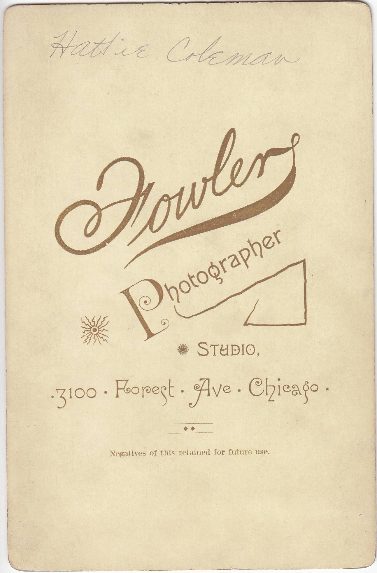 E. L. Fowler, photographer of Chicago, IL - back