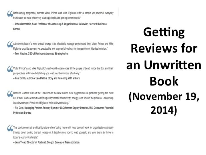 Getting Reviews for an Unwritten Book (November 19, 2014)