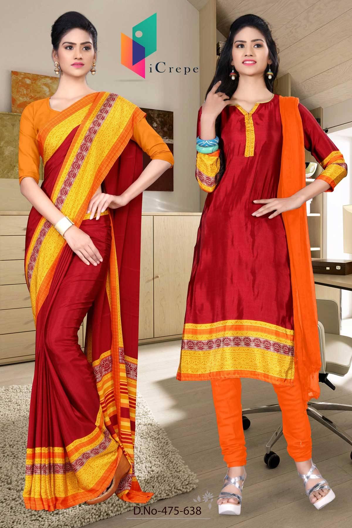 Maroon and Orange Italian Crepe Silk Uniform Saree and Salwar combo-475-638