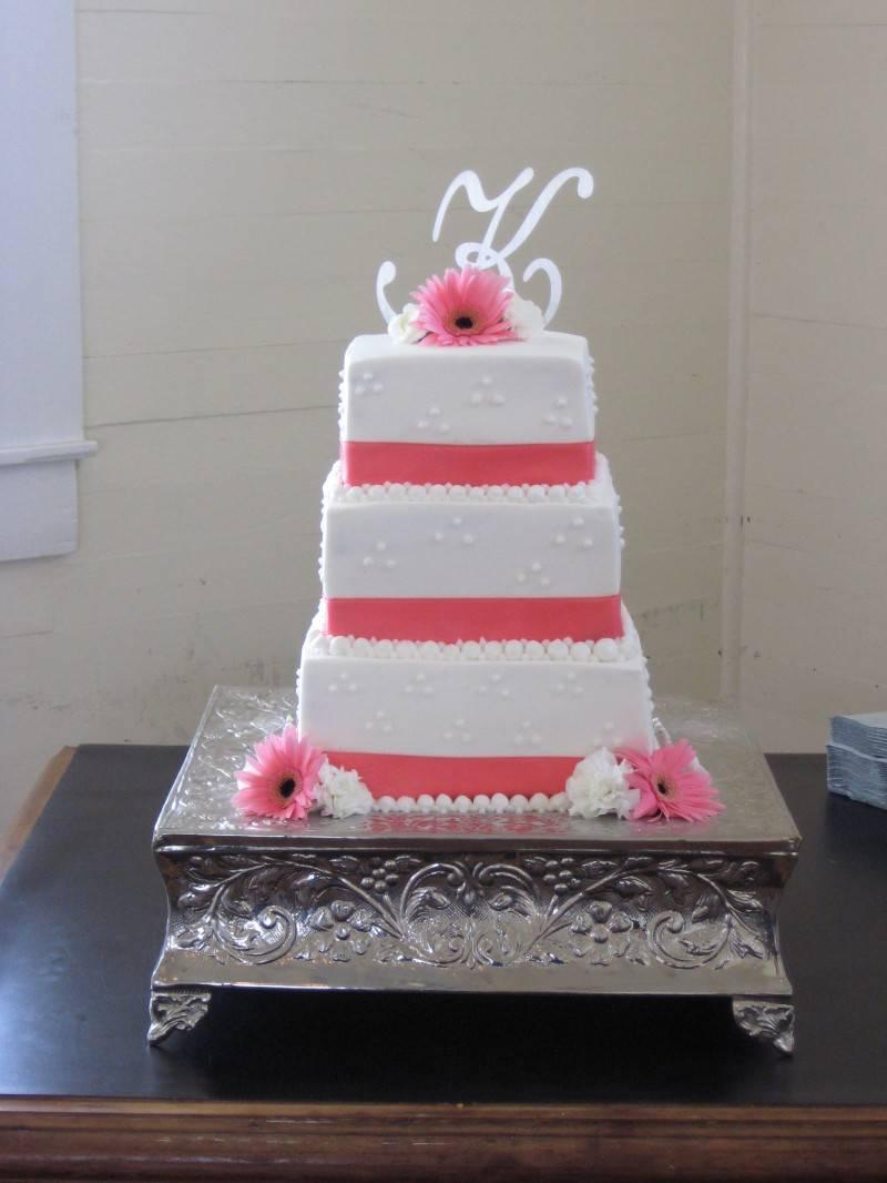Square Ribbon Wedding Cake