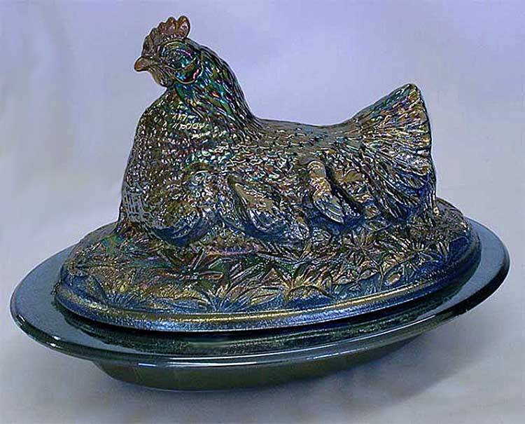 Covered Hen (with rock), blue
