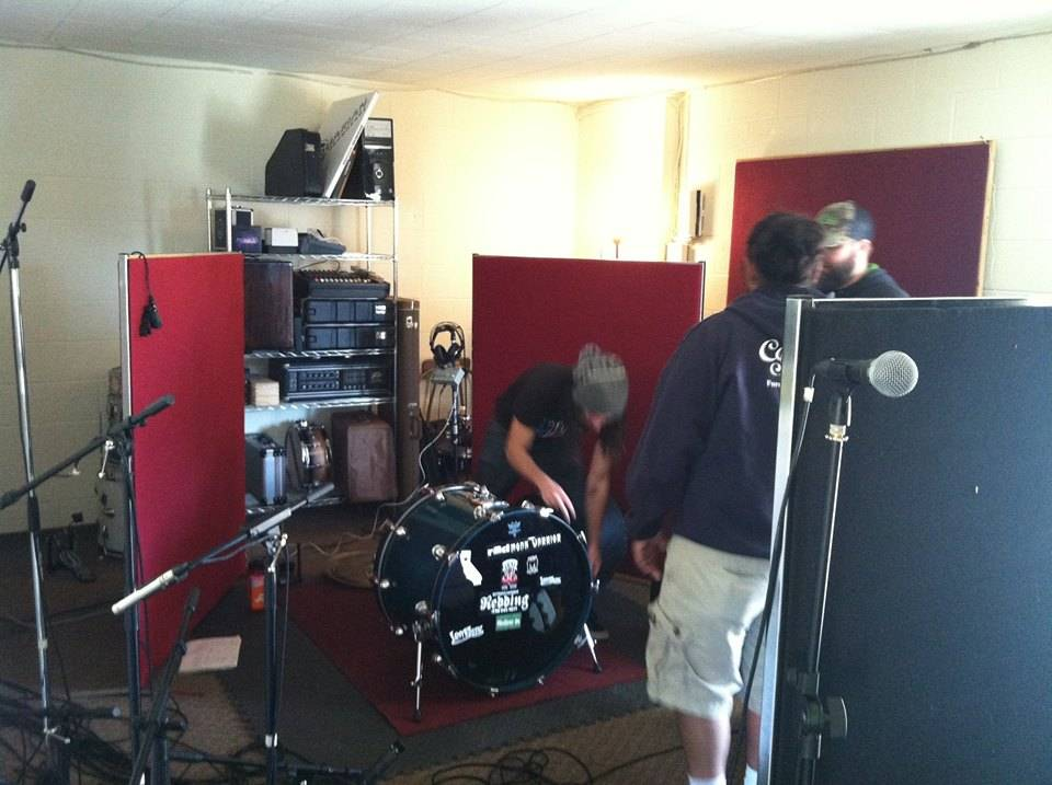 Ryan setting up his drums.