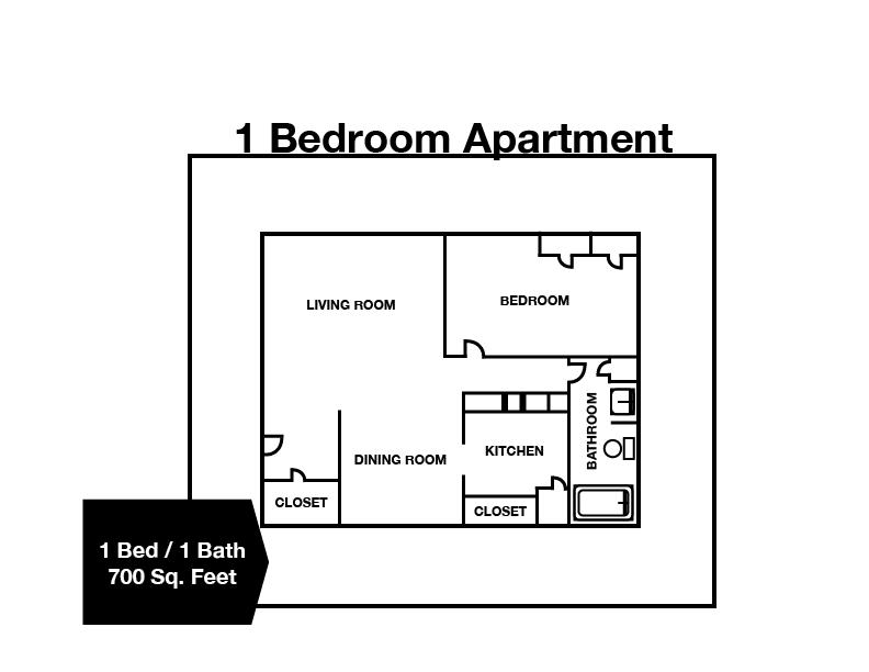 1 Bedroom / 1 Bath Apartment
