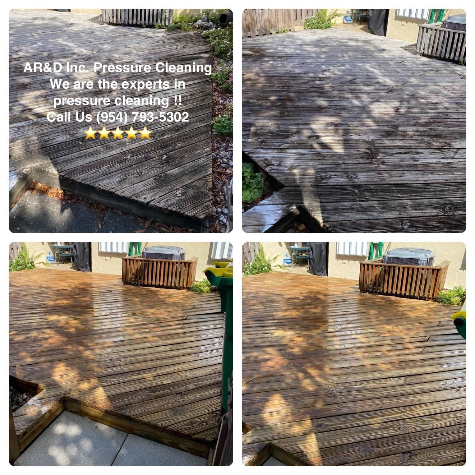 Wood Deck, Pressure Cleaning
