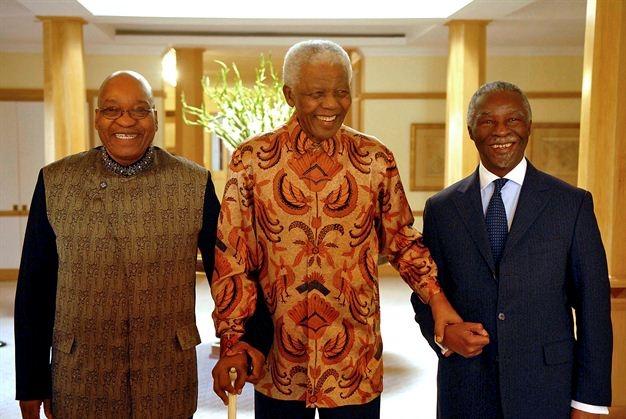 Mandela with Zuma and Thabo M'beki