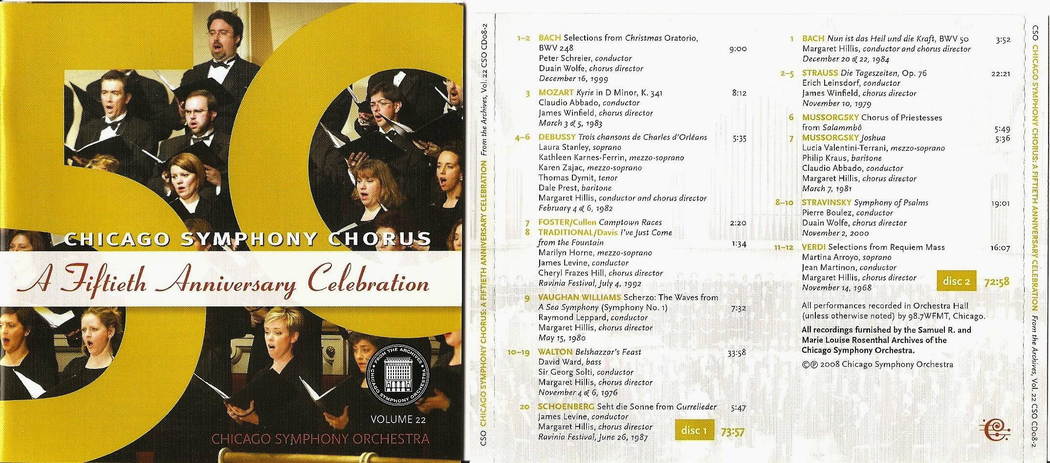 Chicago Symphony Orchestra - From The Archives, Vol.22: Chicago Symphony Chorus: A Fiftieth Anniversary Celebration, 2-CD set (2008)