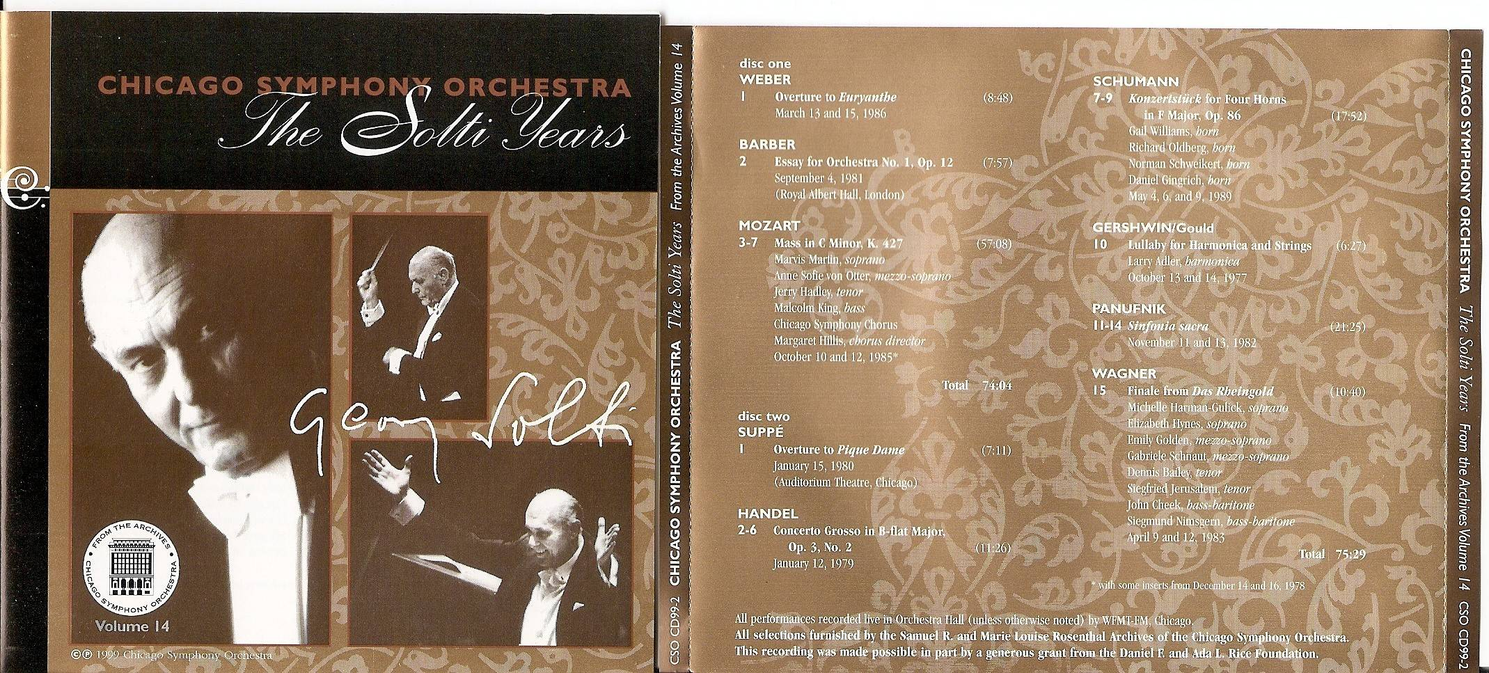 Chicago Symphony Orchestra - From The Archives, Vol.14: The Solti Years, 2-CD set (1999)
