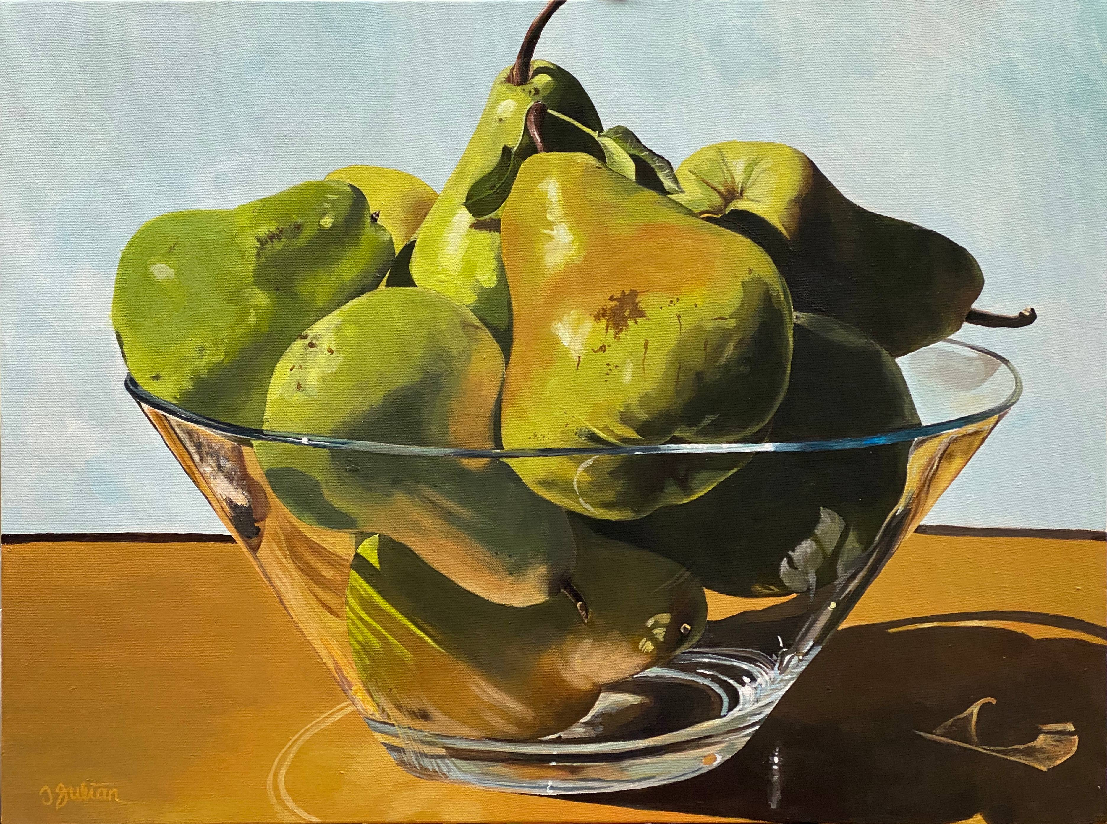 Sunlight through glass with pears