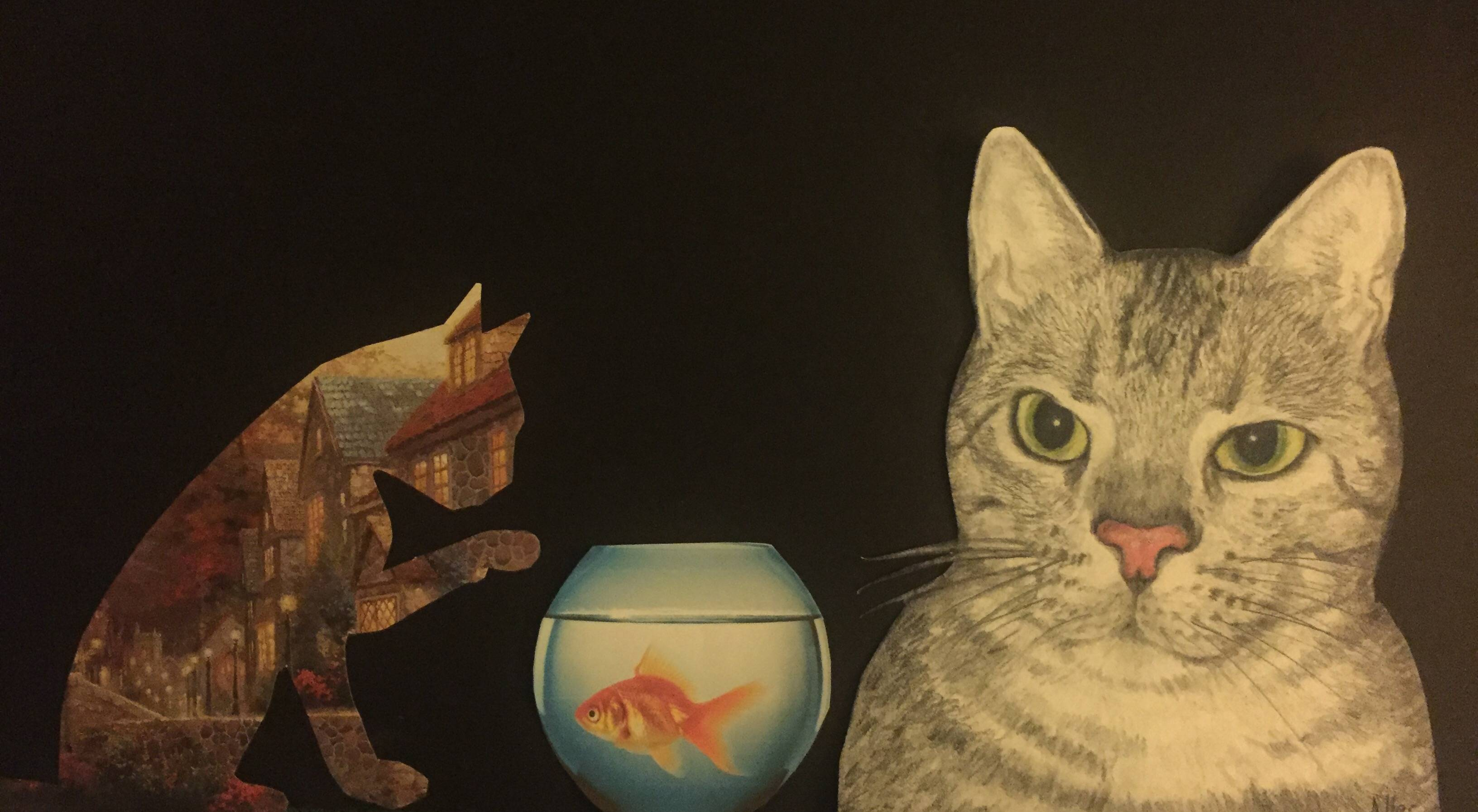 Cats with goldfish