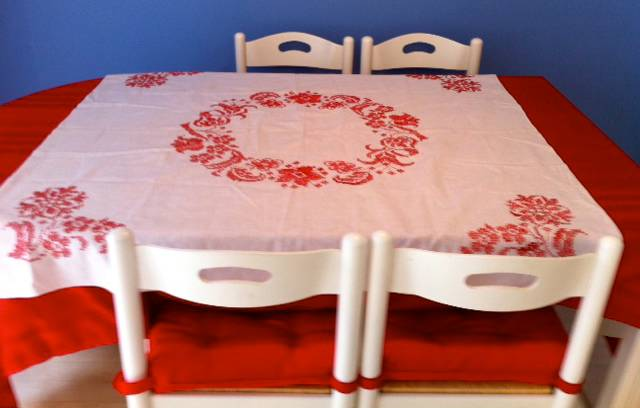 A lovely, table cloth that Aimee hand embroidered...