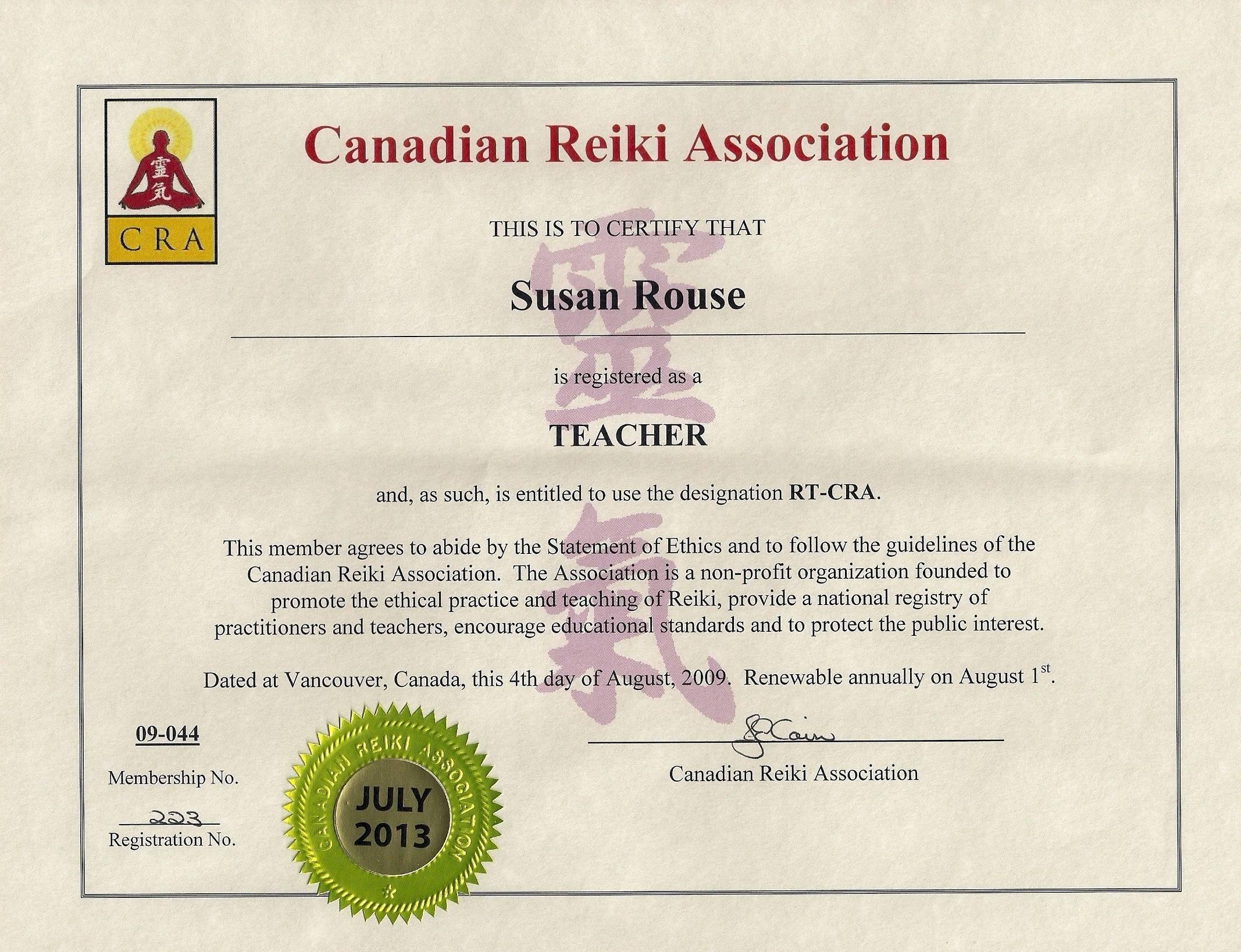 Reiki Master Teacher CRA Certificate